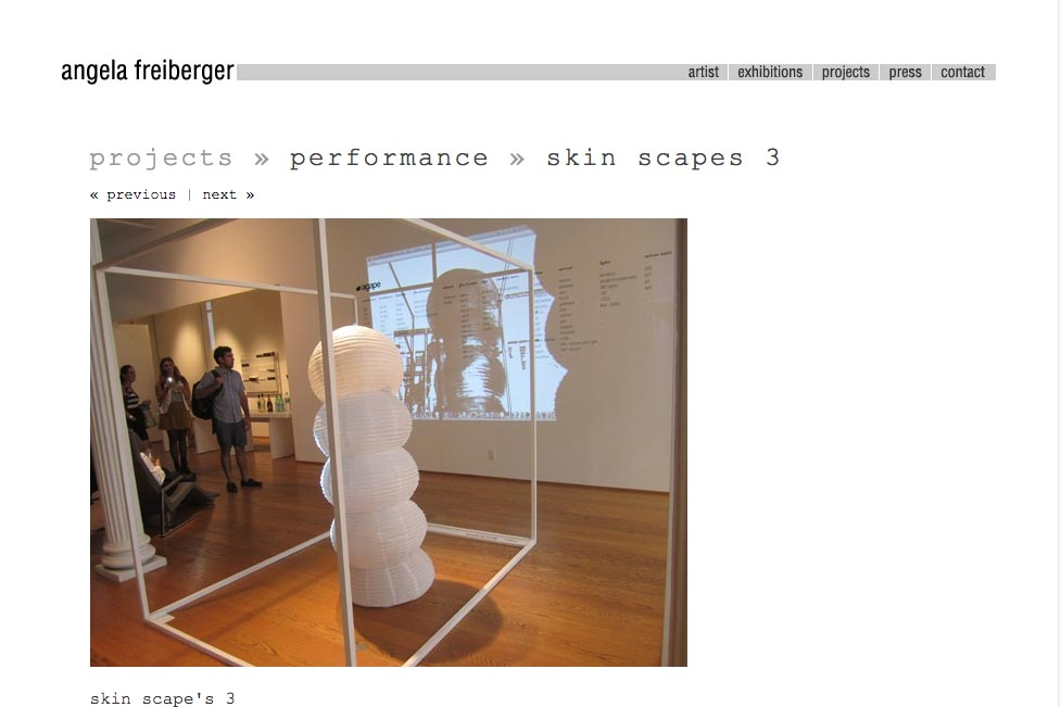 web design for a sculptor and performance artist - Angela Freiberger - single performance page