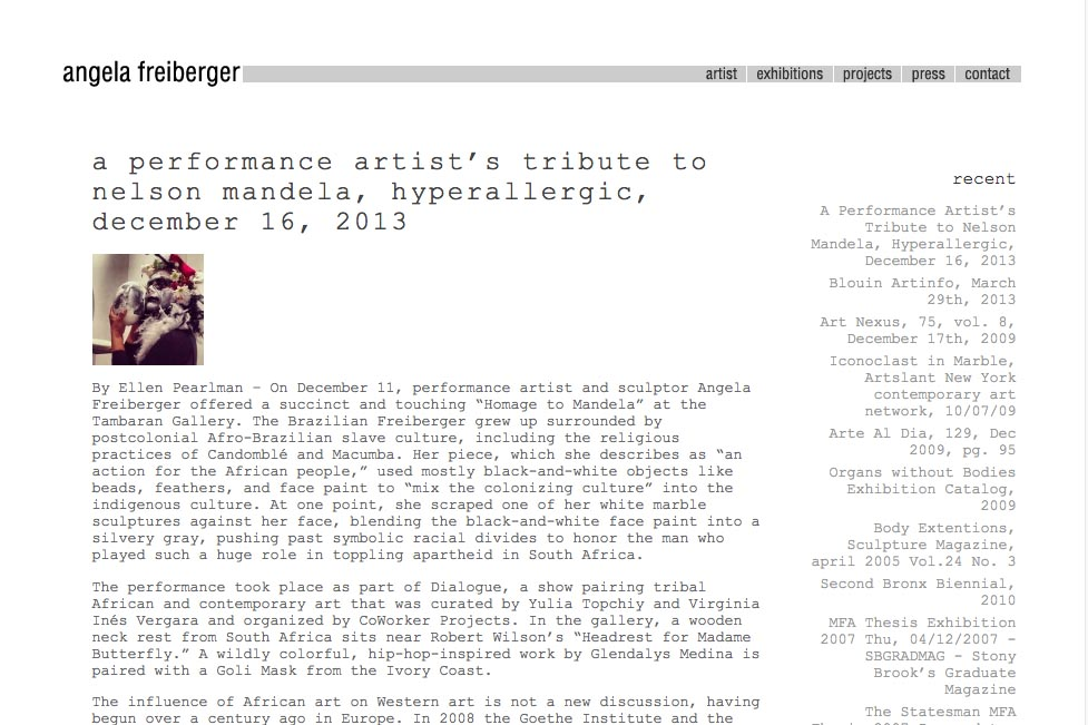 web design for a sculptor and performance artist - press page