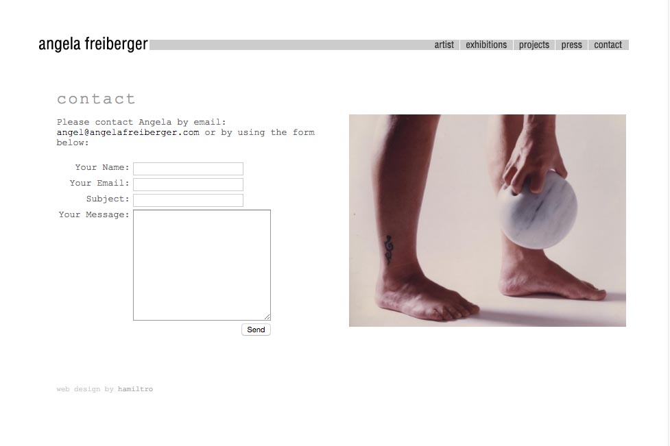 web design for a sculptor and performance artist - Angela Freiberger - contact page