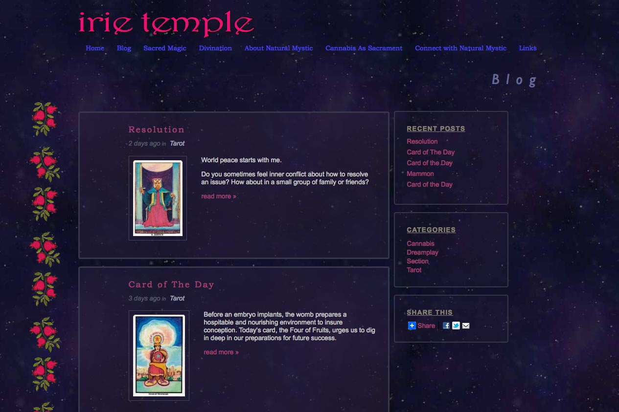web design for a tarot reader and mystic - blog index