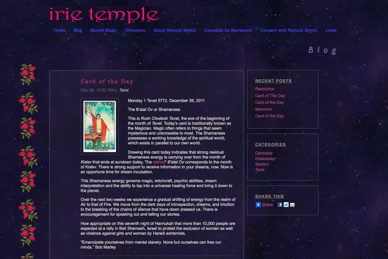 web design for a tarot reader and mystic - blog single article page