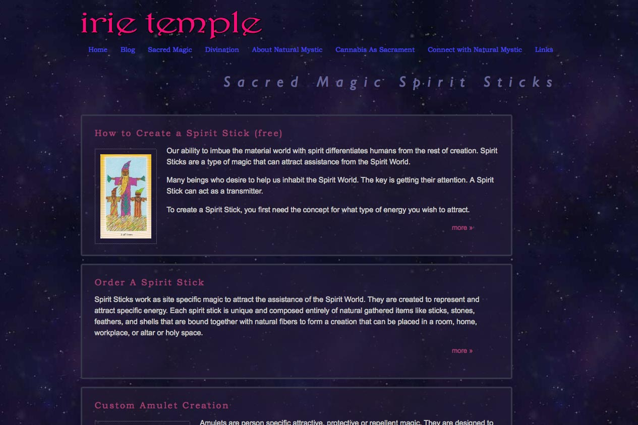 web design for a tarot reader and mystic - sacred magic section index page