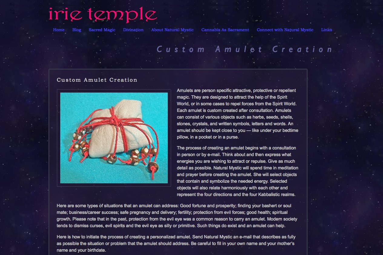 web design for a tarot reader and mystic - sacred magic single page