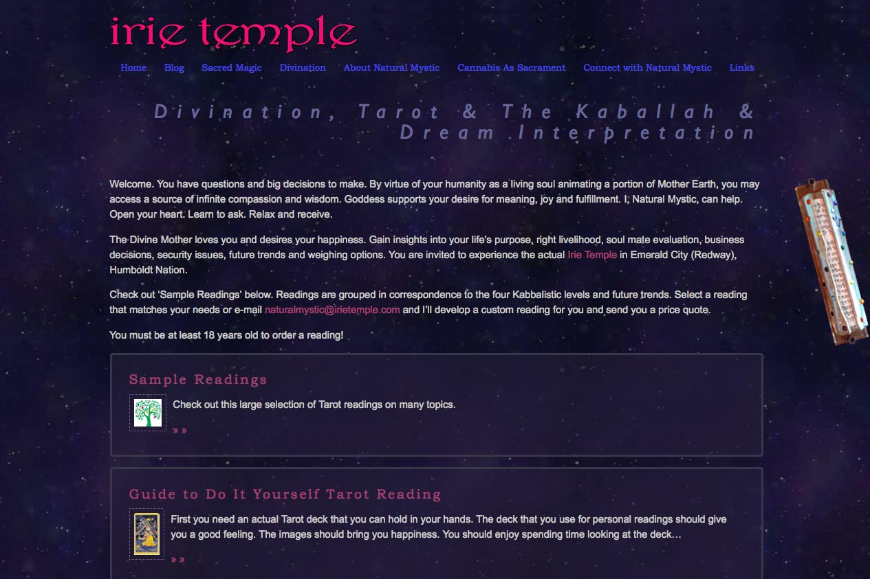 web design for a tarot reader and mystic - divination section index page
