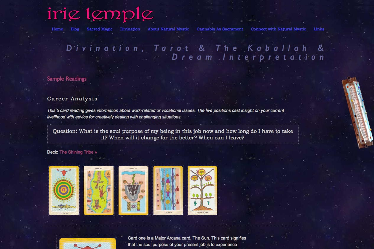 web design for a tarot reader and mystic - divination section single article page