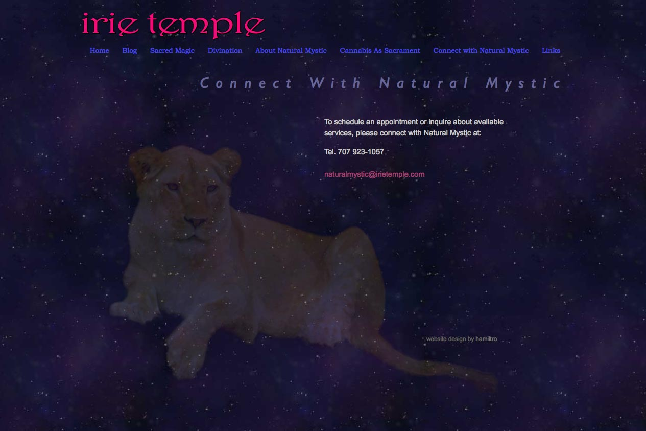 web design for a tarot reader and mystic - connect page