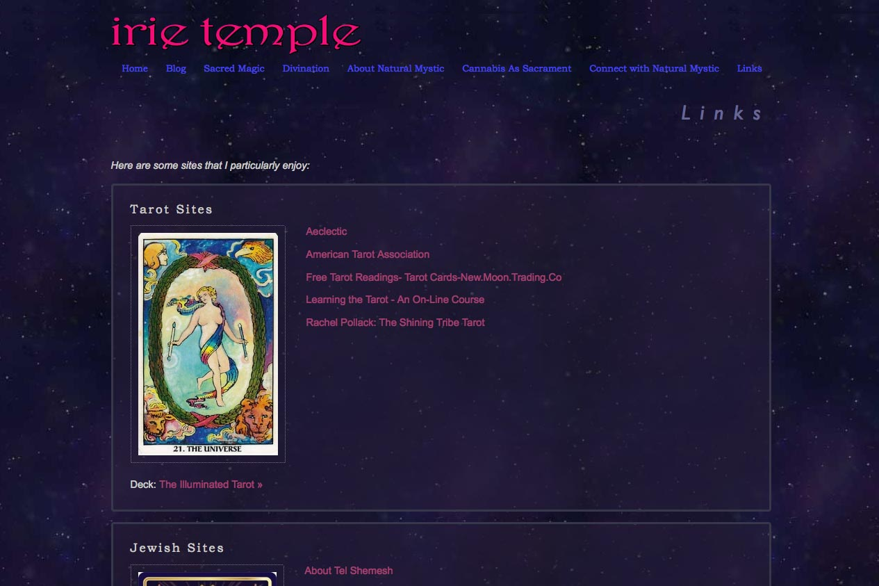 web design for a tarot reader and mystic - links page