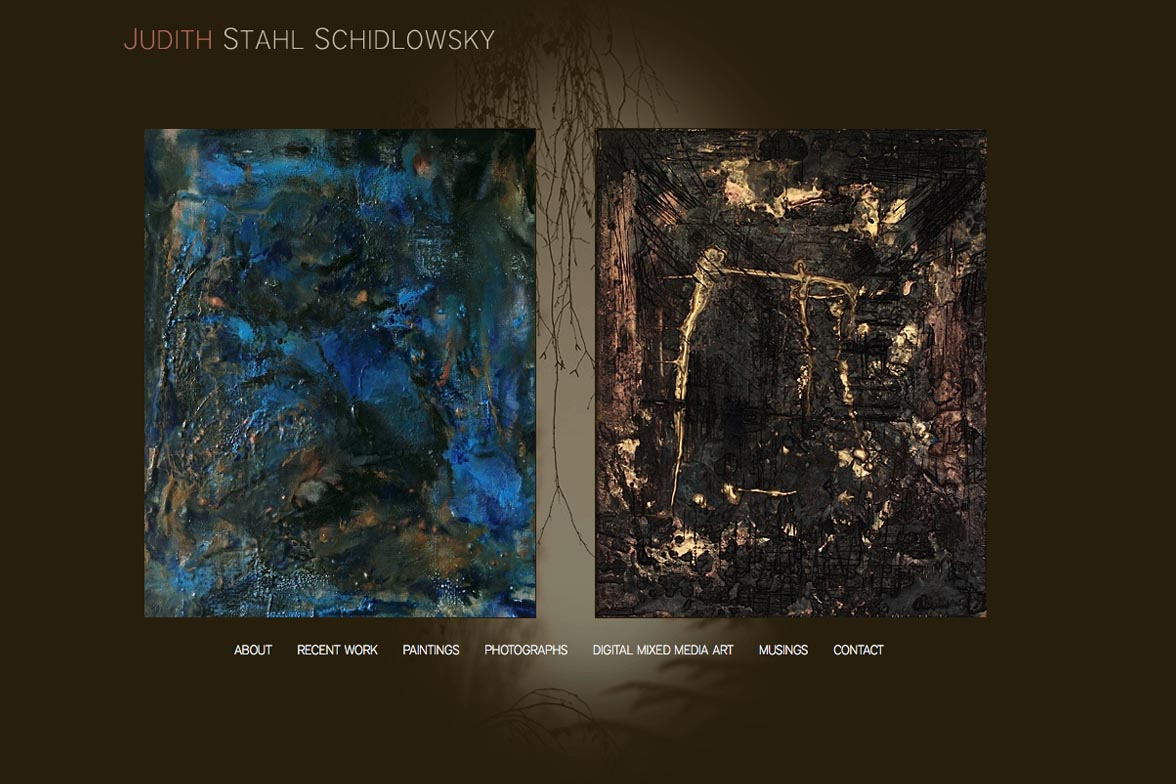 web design for a painter and photographer - Juliet Schidlowsky - home page
