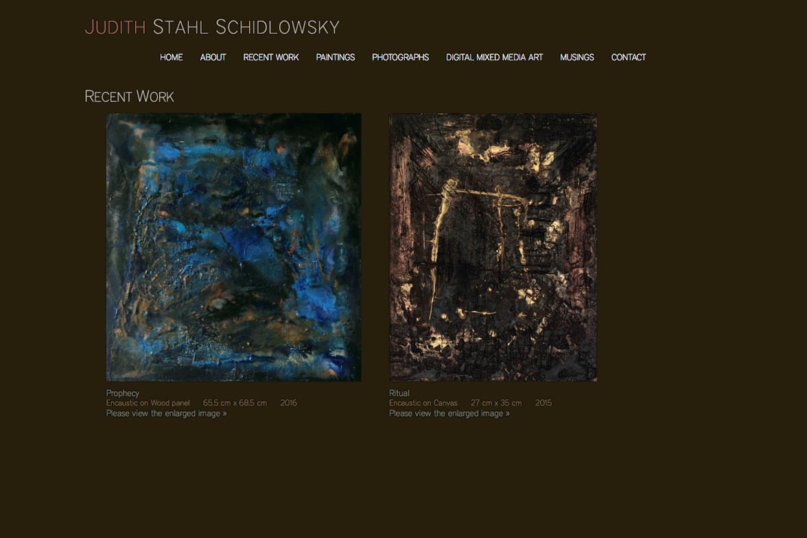 web design for a painter and photographer - Juliet Schidlowsky - recent work page