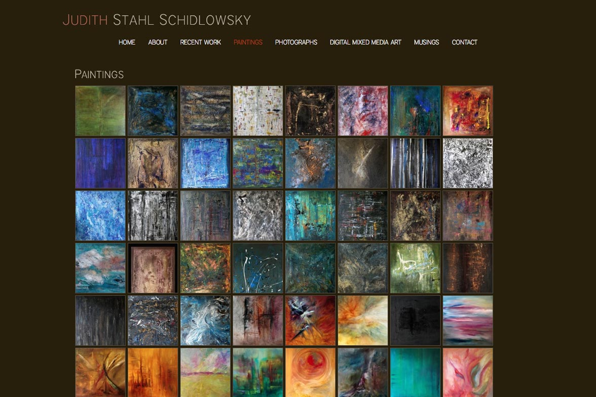 web design for a painter and photographer - Juliet Schidlowsky - paintings index page