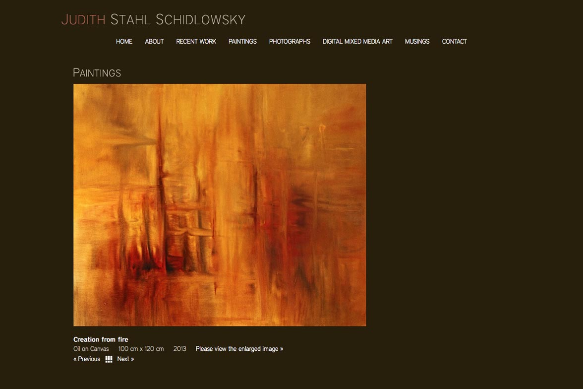 web design for a painter and photographer - Juliet Schidlowsky - paintings single artwork page