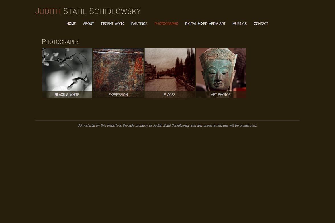 web design for a painter and photographer - photography index page