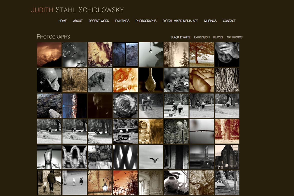 web design for a painter and photographer - Juliet Schidlowsky - photography sub-section index page