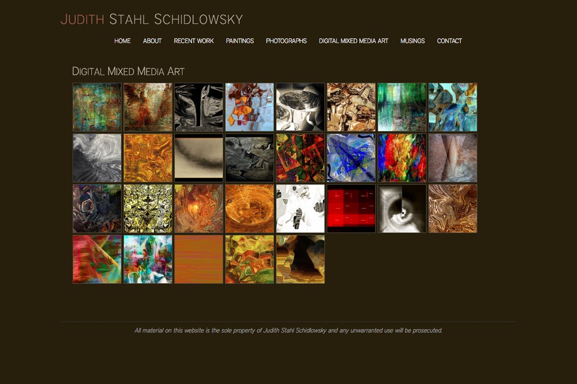 web design for a painter and photographer - Juliet Schidlowsky - digital mixed media index page