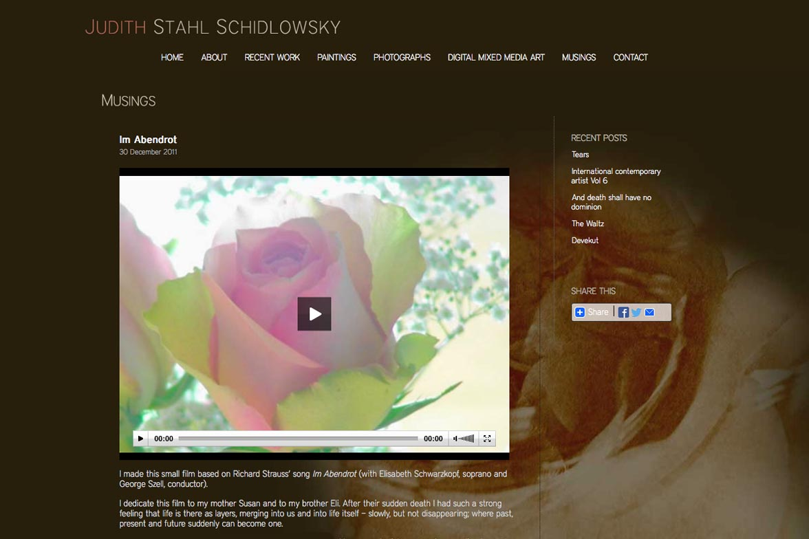 web design for a painter and photographer - Juliet Schidlowsky - musings page