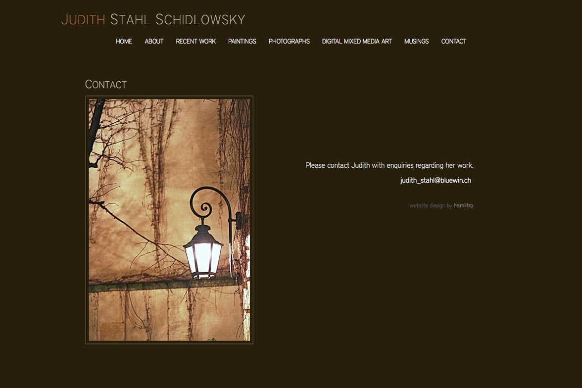 web design for a painter and photographer - Juliet Schidlowsky - contact page