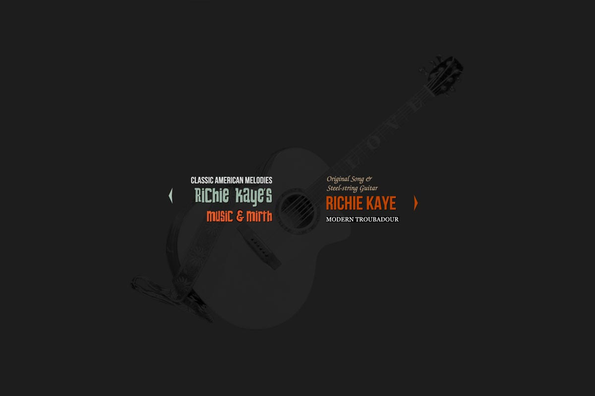 web design for a singer songwriter - Richie Kaye - entry page