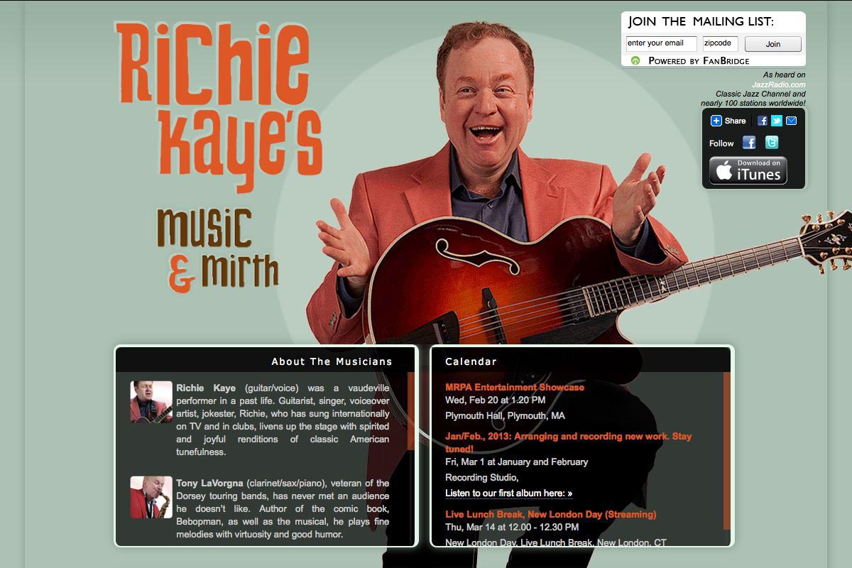 web design for a singer songwriter - Richie Kaye - music and mirth page