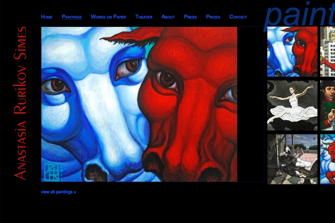 web design for a painter and theater designer - Anastasia Rurikov Simes - paintings index page