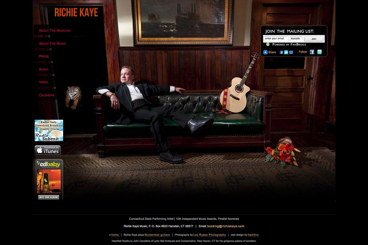 web design for a singer-songwriter - Richie Kaye - troubadour page