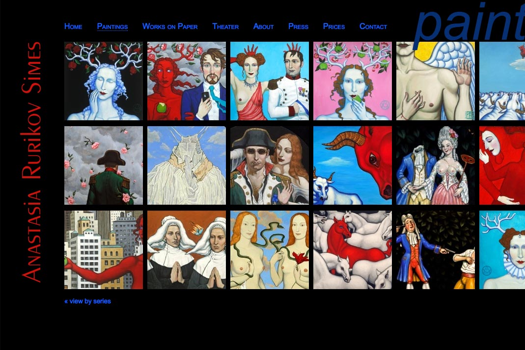 web design for a painter and theater designer - Anastasia Rurikov Simes - all paintings thumbnails page
