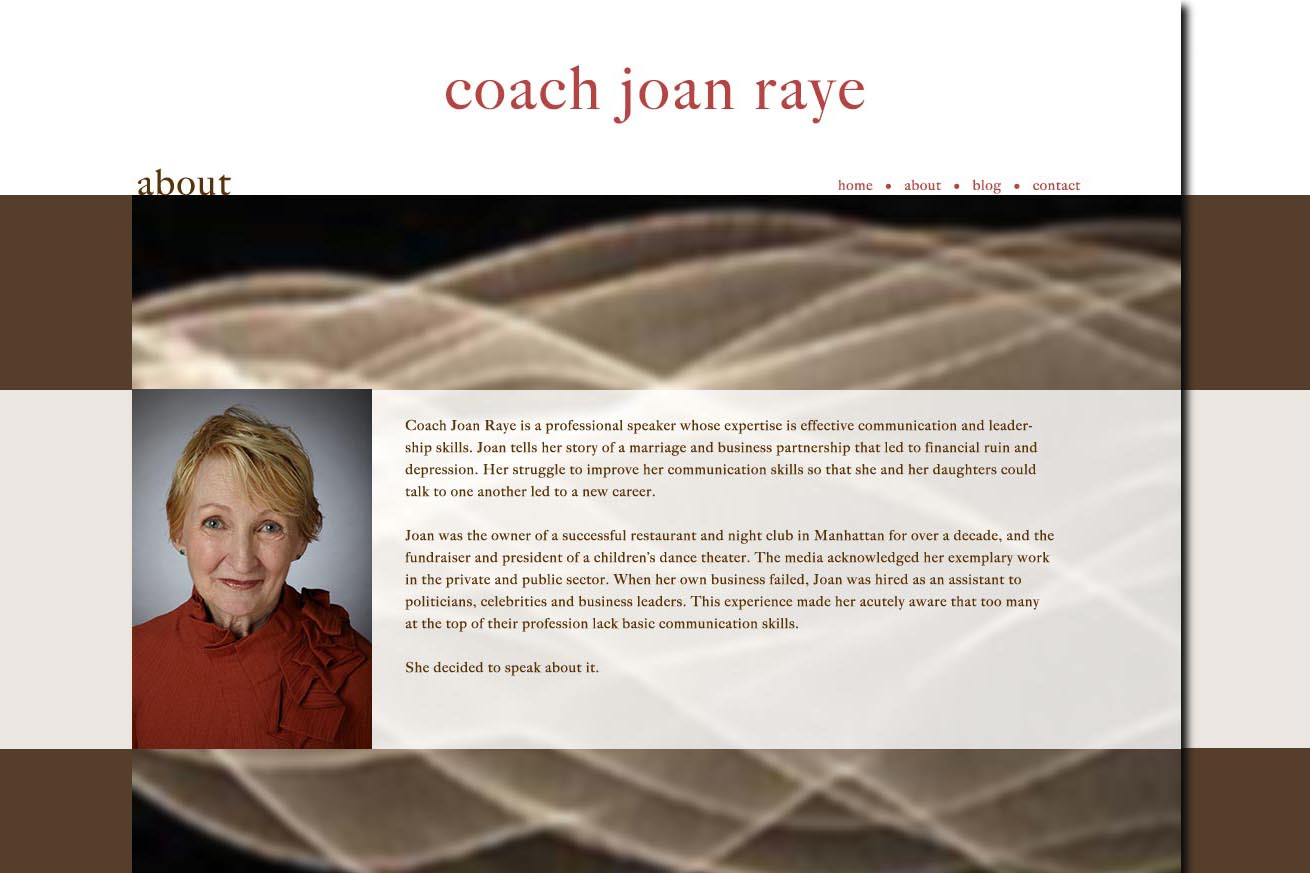 web design for a professional coach and speaker - Joan Raye - about page