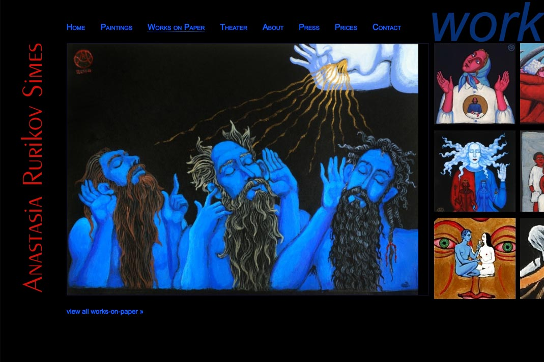 web design for a painter and theater designer - Anastasia Rurikov Simes - works on paper page