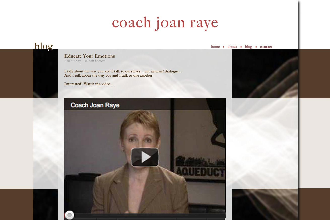 web design for a professional coach and speaker - blog page