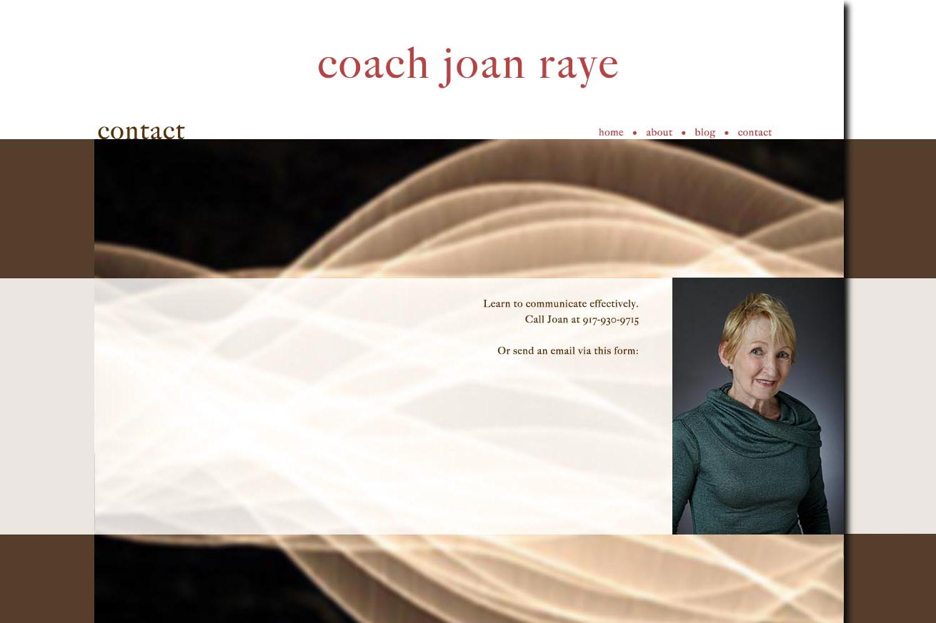 web design for a professional coach and speaker - contact page