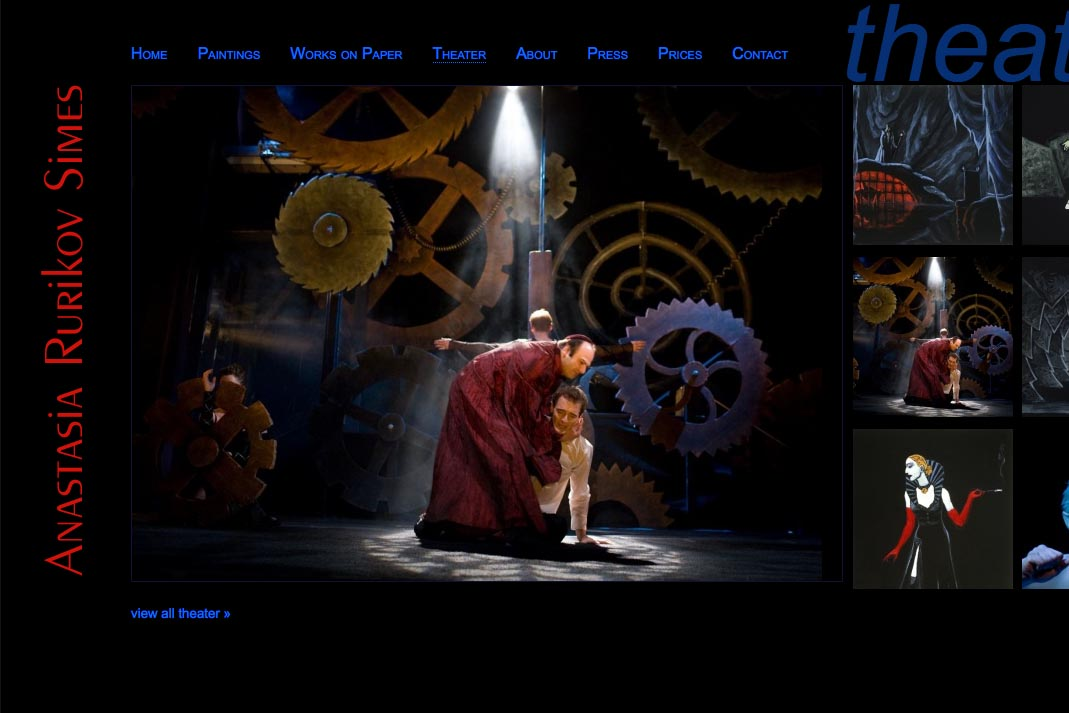 web design for a painter and theater designer - Anastasia Rurikov Simes - theater stage design page