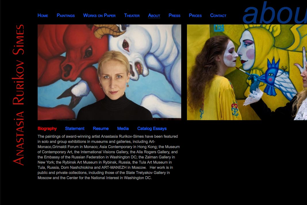 web design for a painter and theater designer - Anastasia Rurikov Simes - about page
