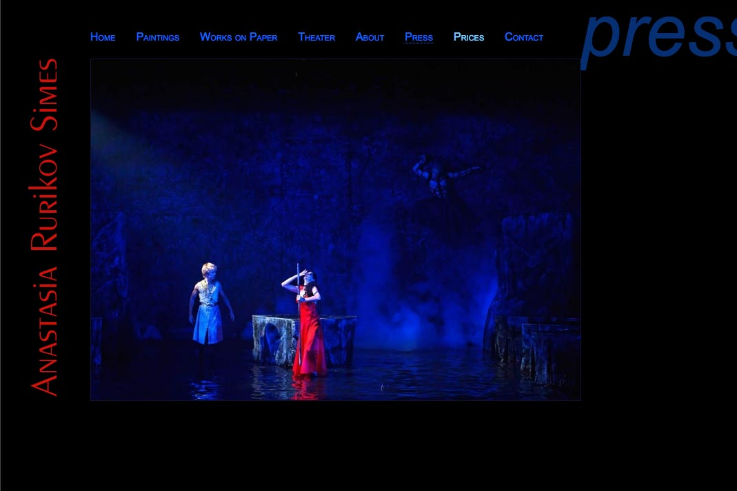 web design for a painter and theater designer - press image page