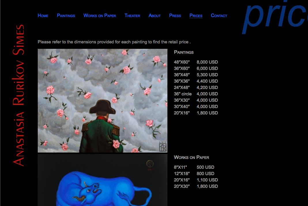 web design for a painter and theater designer - page with prices for artworks
