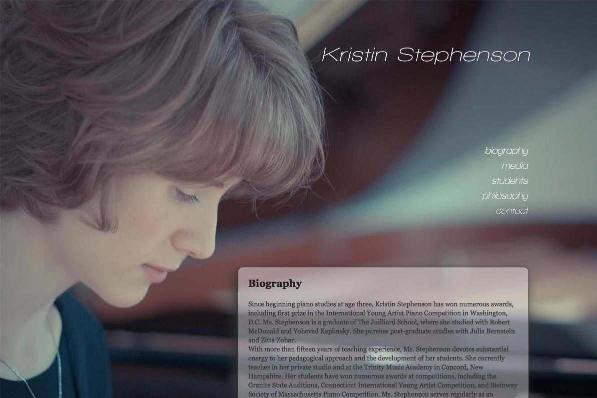 web design for a classical pianist and piano teacher - biography page