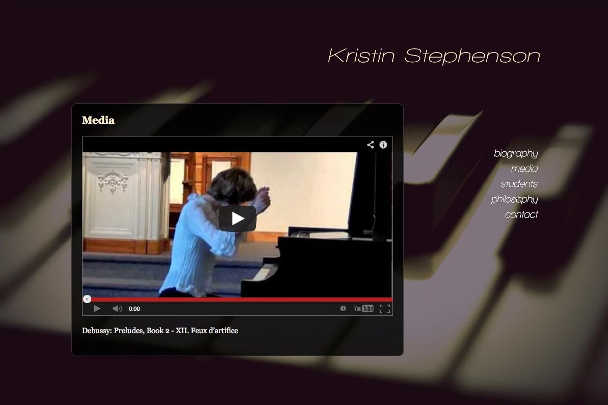 web design for a classical pianist and piano teacher - media page