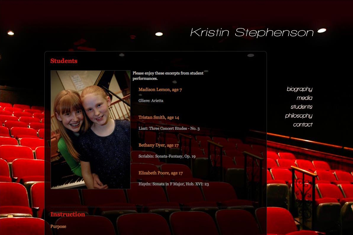 web design for a classical pianist and piano teacher - students page
