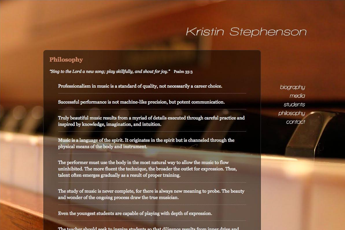 web design for a classical pianist and piano teacher - philosophy page