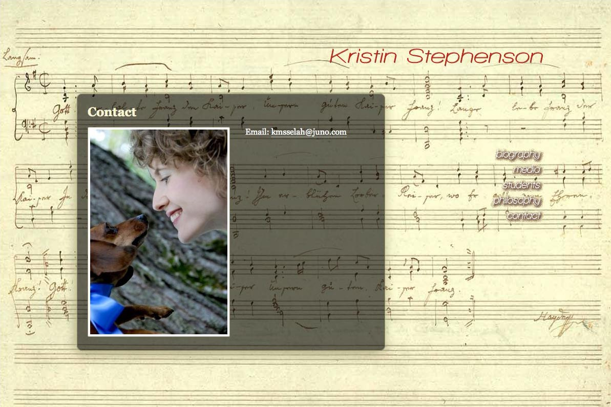 web design for a classical pianist and piano teacher - contact page