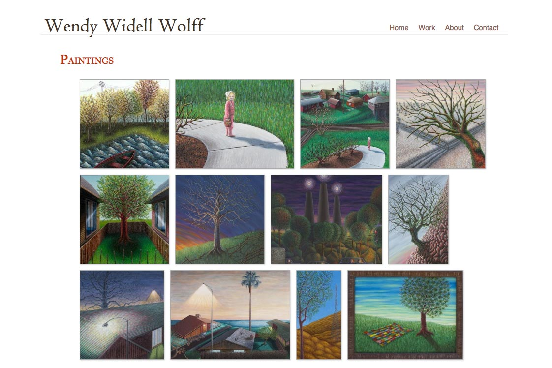 web design for an artist - paintings portfolio index page
