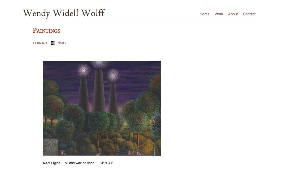 web design for an artist - single painting page