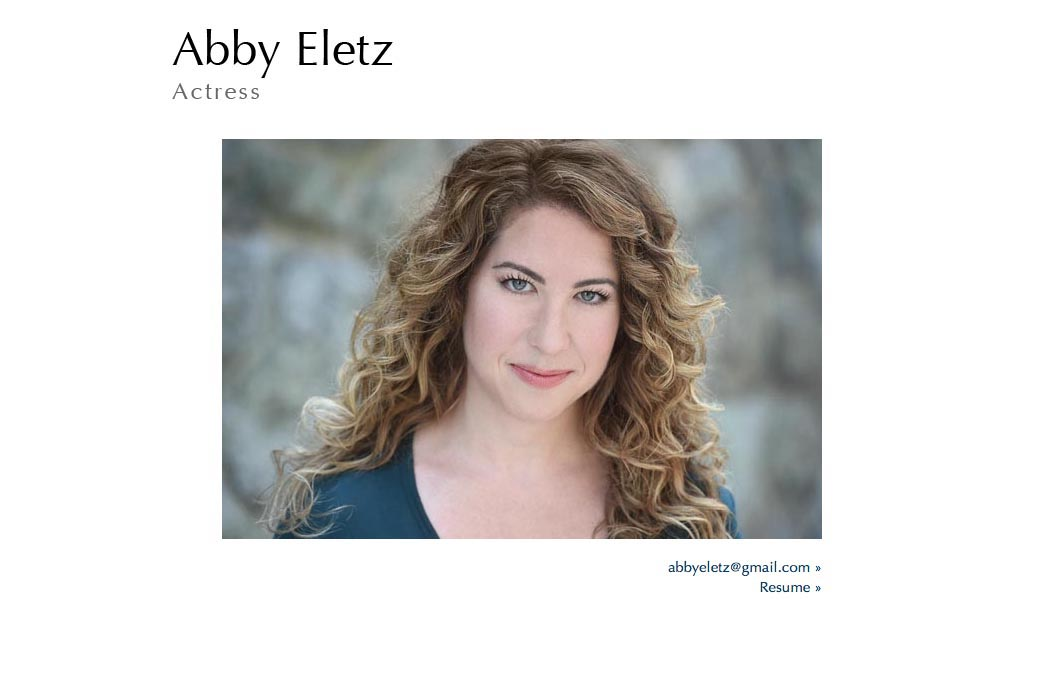 web page design for an actor - one page site for Abby Eletz