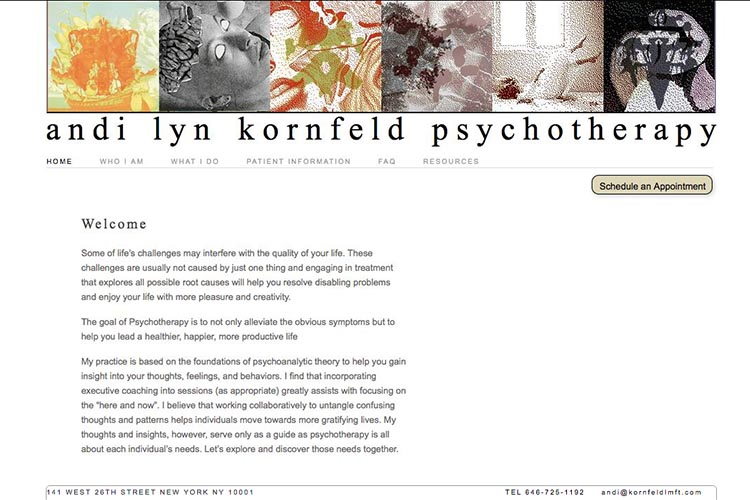 web design for a psychotherapist - welcome page