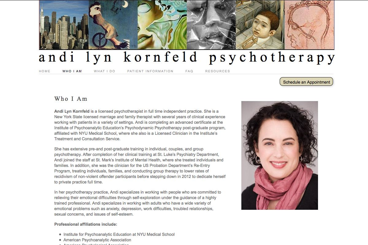 web design for a therapist - Andi Lyn Kornfeld - who I am page