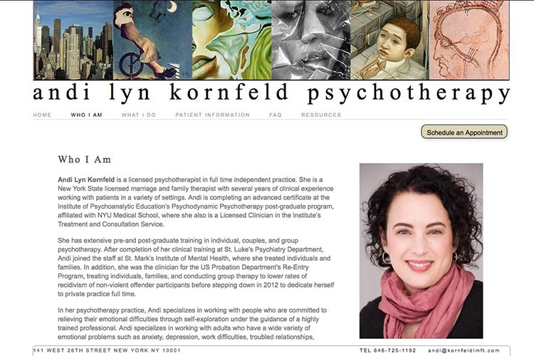 web design for a psychotherapist - who I am page