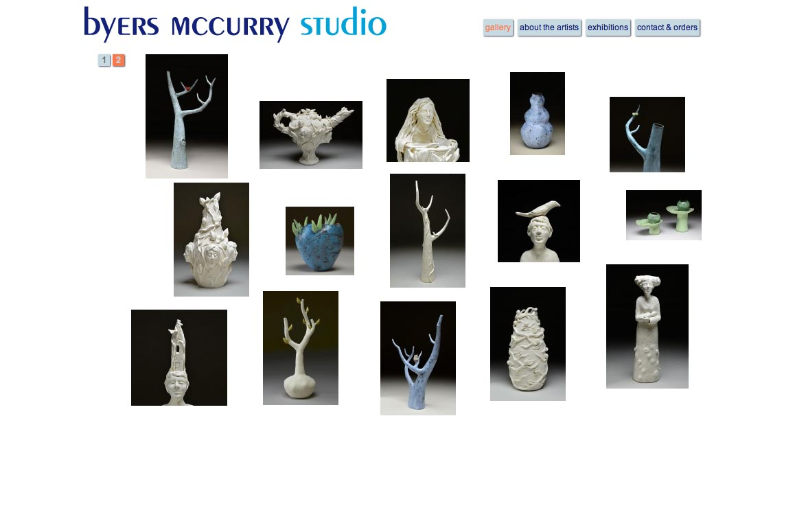web design for two creative ceramicists - alternate home page