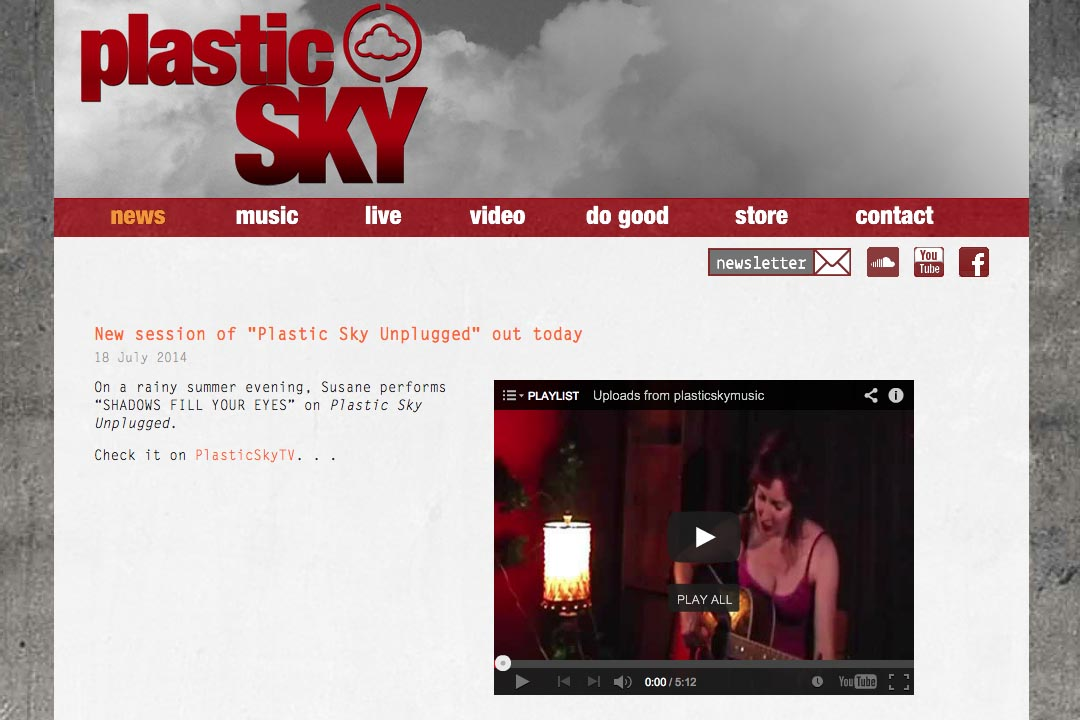 web design for a singer - Susane Asher - news page