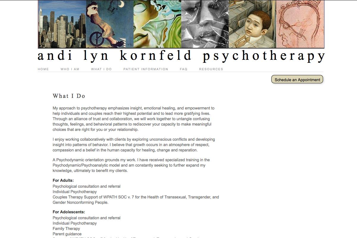 web design for a therapist - what I do page