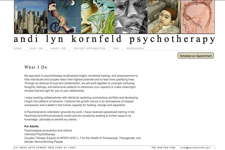 web design for a psychotherapist - what I do page