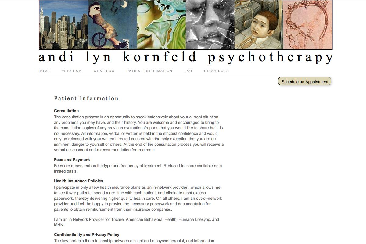 web design for a therapist - patient information page