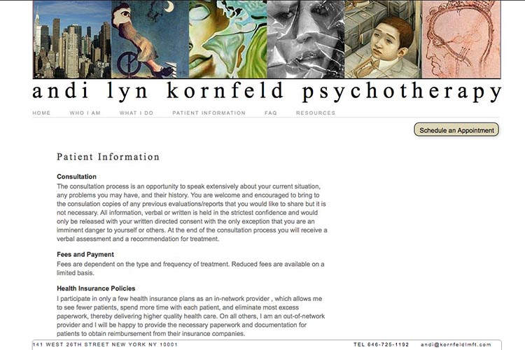 web design for a psychotherapist - patient information page